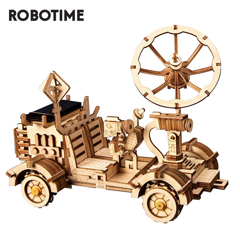 Robotime DIY Moon Buggy Solar Energy Toys 3D Wooden Puzzle Game Assembly Model Building Kit Toys For Children Kids Adult LS401