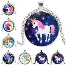 2019 Hot Sale Fashion Handmade Time Jewelry Glass Convex Round Pendant Necklace Fairy Unicorn Gift High Quality
