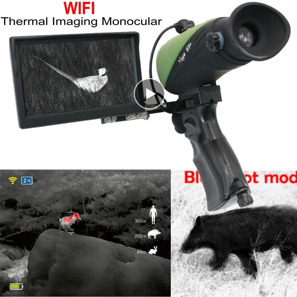 Vision nocturne monoculaire imagerie thermique + x-infrarouge E3 WIFI lunettes thermique monoculaire HD Laser IR caméra de piste télescope IP66