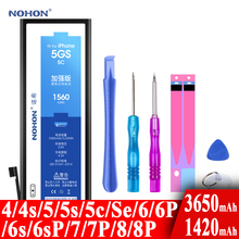 Nohon Built-in Battery For Apple iPhone 5S 5C 5GS 4 4S 5 7 SE 6 6s 8 Plus 6P 6sP 7P 8P 6Plus 7Plus 1420-3650mAh Batteries +Tools cheap 1301mAh-1800mAh Compatible ROHS Apple iPhones NOHON Bateria For iPhone 5S 5C 4 4s 5 7 iPhone5S iPhone5C iPhone5GS For Apple iPhone 5s 5c
