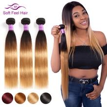 רך מרגיש שיער 1/3/4 Pcs חבילות בלונדינית Ombre ברזילאי ישר שיער חבילות T1B/27 שיער טבעי Weave חבילות רמי הרחבות
