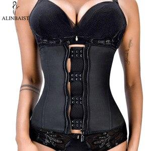 Image 1 - XXS 6XL kobiety guma lateksowa gorset Waist Trainer urządzenie do modelowania sylwetki Hook Zipper gorsety pas wyszczuplający w talii topy odchudzanie Shapewear pas wąski pasek