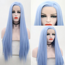 Wig Synthetic-Hair Lace-Front Sky-Blue Bombshell Parting Hairline-Side Heat-Resistant-Fiber
