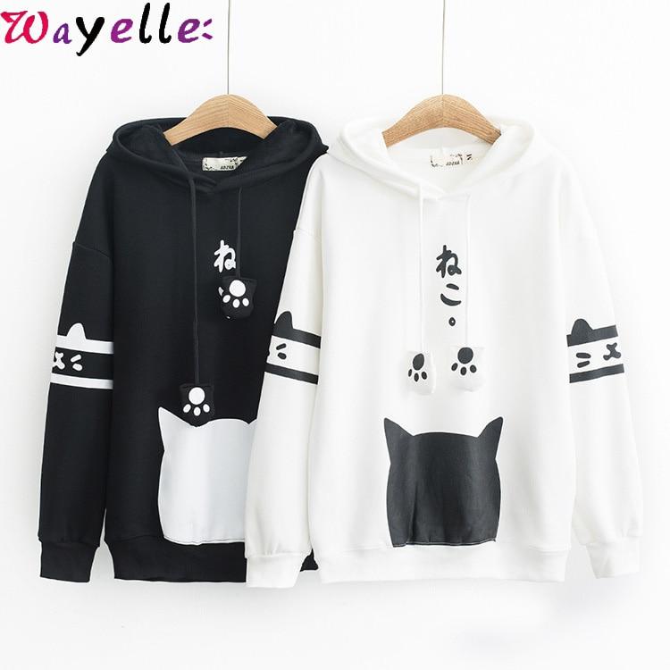 Lady Girl Japanese Cat Hoodie Sweatshirt Pullover Tops Kawaii Harajuku Cute Coat