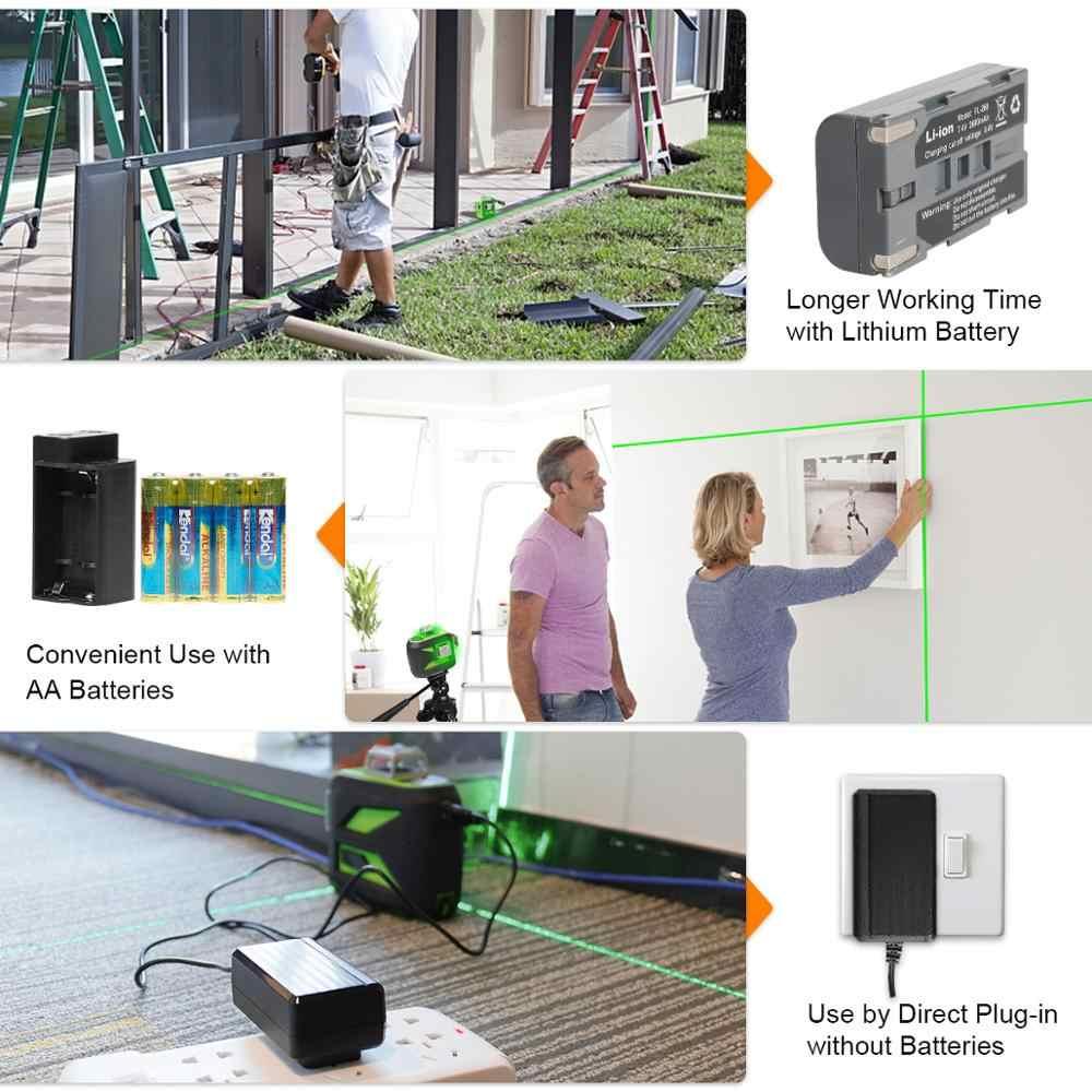 Huepar yeşil ışın 3D lazer seviyesi Bluetooth fonksiyonu ile kendini tesviye çapraz çizgi USB şarj, kuru ve Li-ion pil ve Tripod setleri