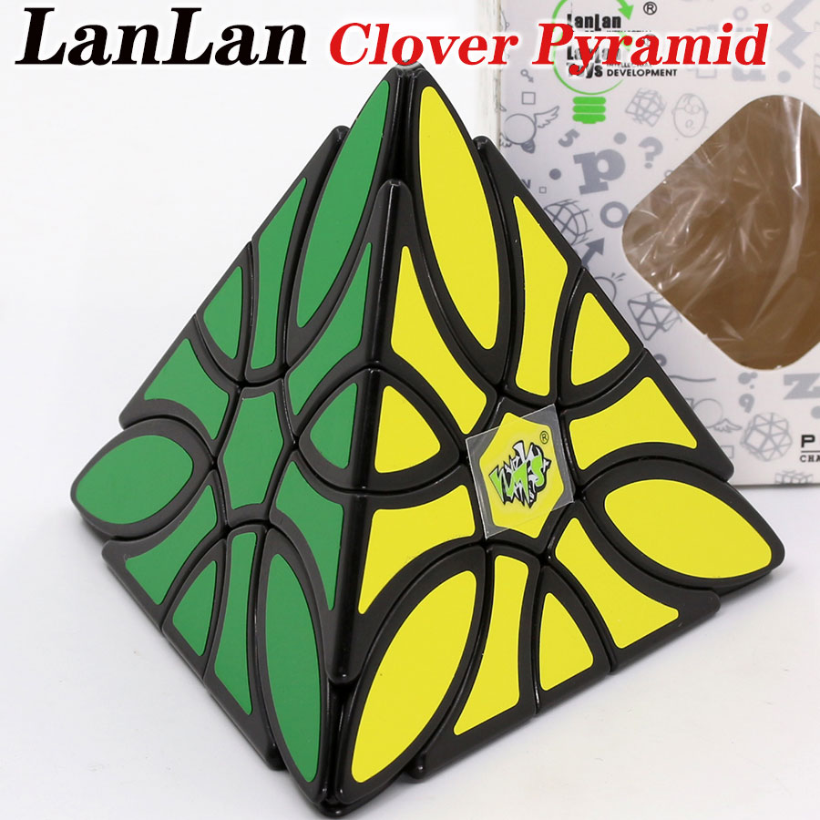 Magic Cube Puzzle LanLan Clover Pyramid Cube Special Shape 4 Sides Faces Twist Wisdom Cube Educational Toys Game