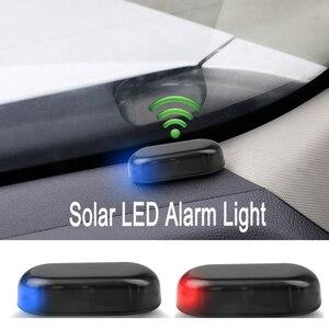 Luz de Seguridad automotriz de energía Solar y USB, alarma simulada, inalámbrica, antirrobo, intermitente LED para coche de 12V-36V