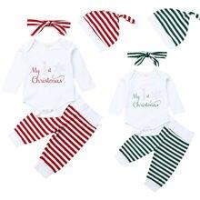 Emmababy de Navidad bebé recién nacido chico chica ropa de Navidad mameluco Top a rayas traje de pantalones