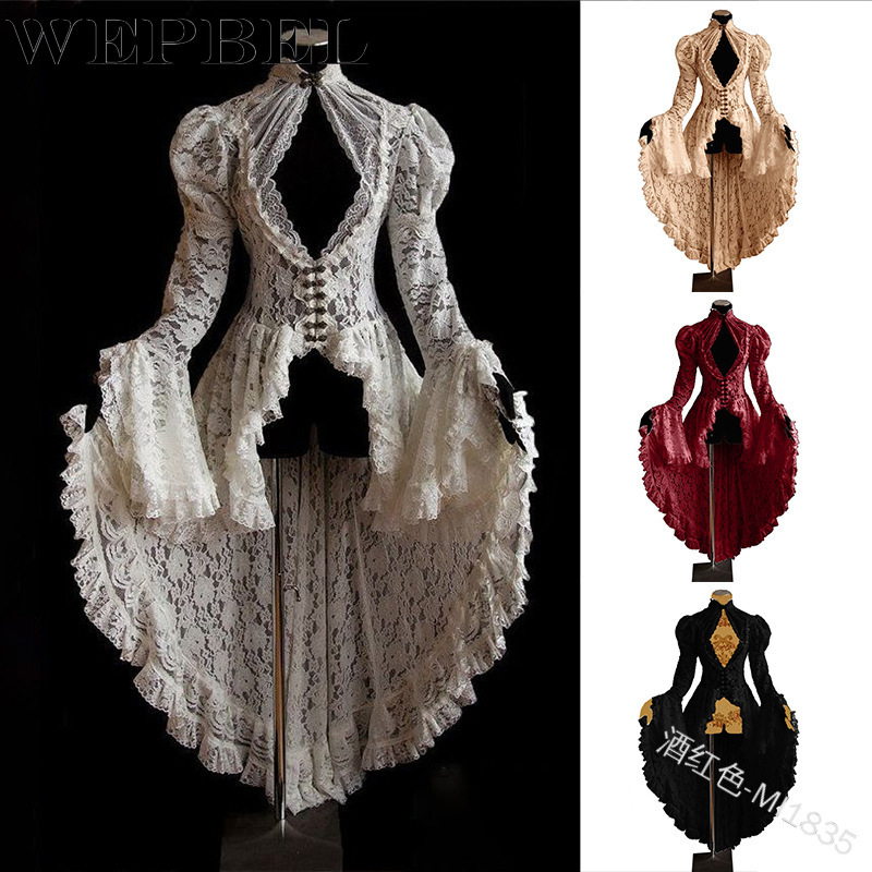 WEPBEL Women Fashion Gothic Long Sleeve Lace Stitching Tuxedo Jacket Medieval Aristocratic Ladies Vampire Lolita Cosplay Dress
