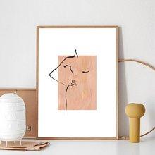 Абстрактная женщина рисование линий принты черная бежевая нейтральная