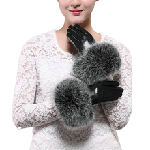 2016 new arrival hot sell high quality women real fox fur Gloves lovely ladies genuine gloves