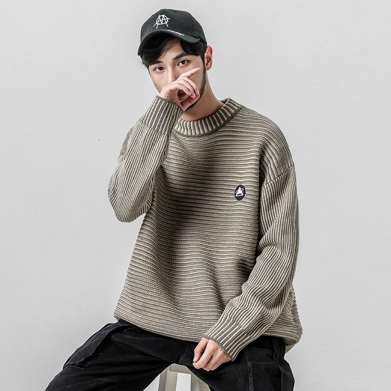 2019 New Autumn And Winter Korean Version Of The Couple Stitching Stripe Labeling Men's Casual Sweater Large Size