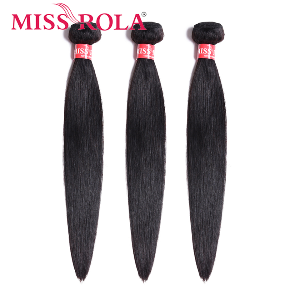 Miss Rola Peruvian Hair Weave Bundles 100% Human Hair Straight 3 Bundles 8-26 Inch Natural Color Hair Extension Non-Remy
