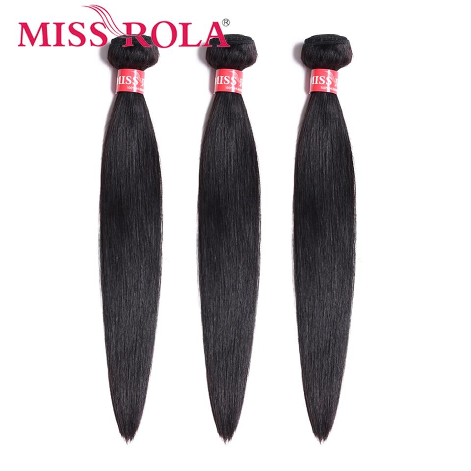 Miss Rola Peruvian Hair Weave Bundles 100% Human Hair Straight 3 Bundles 8-26 Inch Natural Color Hair Extension Non-Remy