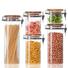 Glass Food Storage Jar with Sealing Bamboo Cover Airtight Canister with Airtight Clamp Caps Kitchen Snack Cereal Containers