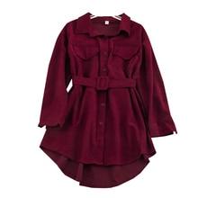 Женская Вельветовая рубашка осень зима отложной воротник длинный рукав двойной карман рубашка пояса Талия дикая Свободная куртка ML421