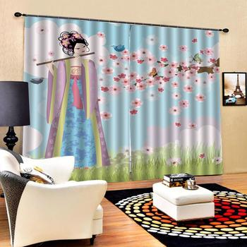 girls 3D Curtain Luxury Blackout Window Curtain Living Room pink plum curtains Decoration curtains