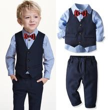 цена на Shirt + Bow knot + Vest  + Pants 4pcs Suit Kids Boys Suits Formal Costume Gentleman Suit Wedding Suit Boy Children Party Clothes