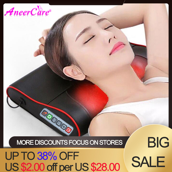 Aneer Neck Healthy Massageador Relaxation Shiatsu Device Cervical Electric Back Shoulder Massager Pillow Infrared Heating Body