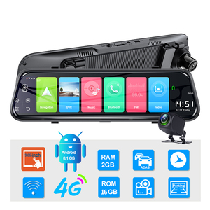 Image 2 - Bluavido 10 אינץ מראה מקליט 4G אנדרואיד 8.1 GPS דאש מצלמת FHD 1080P מבט אחורי מצלמה ADAS רכב DVR WiFi Bluetooth רכב גלאי