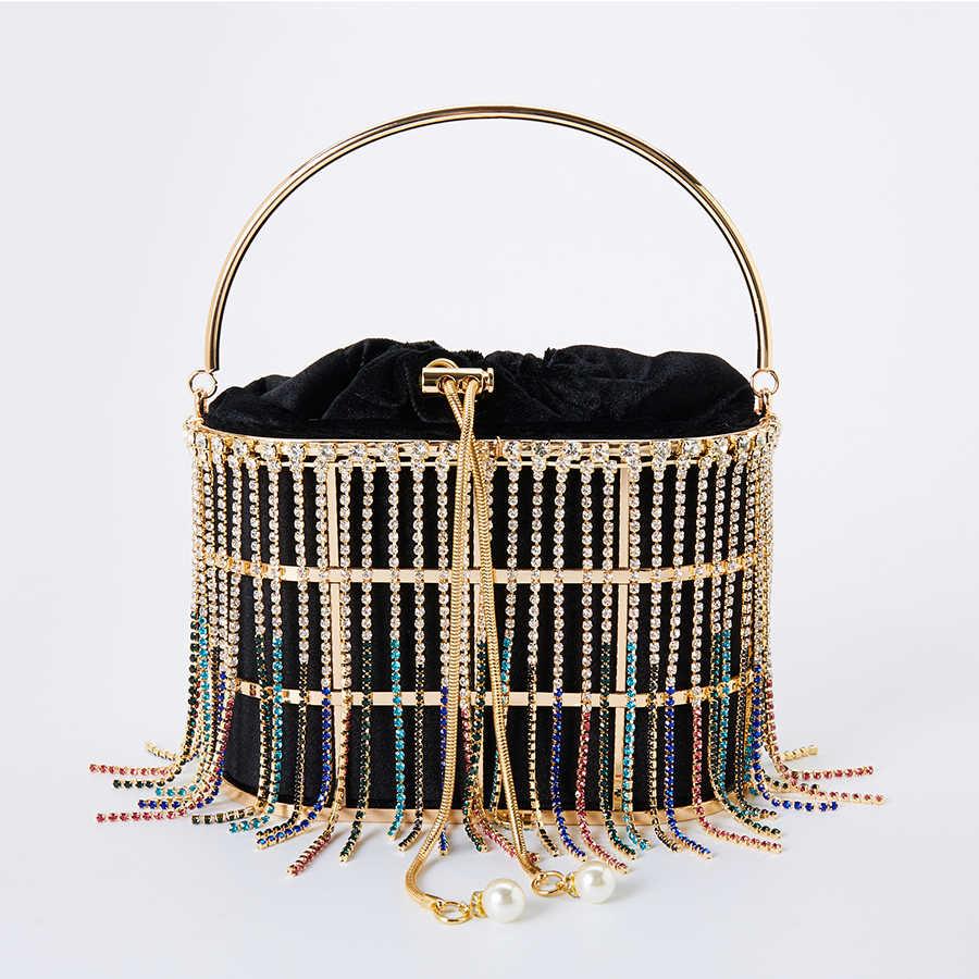 Rhinestone พู่คลัทช์กระเป๋าผู้หญิง 2020 สไตล์เกาหลีเพชรกระเป๋าสะพายสุภาพสตรีสุภาพสตรีโลหะตะกร้ากระเป๋า