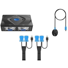 2 Port KVM Smart Switch 2 in 1 Out with Desktop Controller Switch USB Mouse Keyboard Printer Switcher VGA KVM Sharer