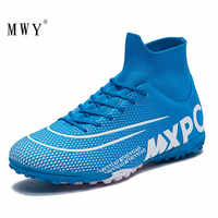 Mwy alta superior botas de futebol masculino profissional atlético formadores tênis ao ar livre crianças sapatos futebol botas chuteira futebol