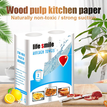2 Roll/Pack Kitchen Paper Towel Wood Pulp Roll Paper Tissue Strong Water Oil Absorption SEC88