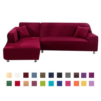 Narzuta na sofę elastan jednokolorowa elastyczna narożna Sofa narzuty ochraniacz na krzesło salon 1 2 3 4 osobowa tanie i dobre opinie FORCHEER 145-185cm sofa cover Printed Nowoczesne Solid Podwójne siedzenia kanapa Polyester Cotton 92 Polyester and 8 Spandex