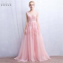 Em estoque sexy laço rosa vestido de noite com pérolas profundo v neck vestidos de festa feminino formal a linha vestido de festa longo