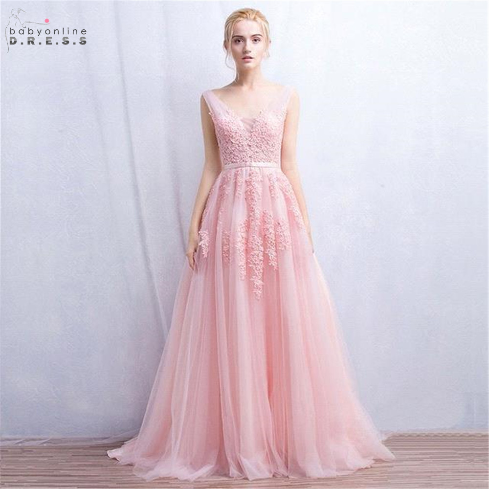 In Stock Sexy Lace Pink Evening Dress With Pearls Deep V-neck Party Dresses Female Formal A-line vestido de festa longo
