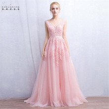 In Stock Sexy Lace Pink Evening Dress With Pearls Deep V neck Party Dresses Female Formal A line vestido de festa longo