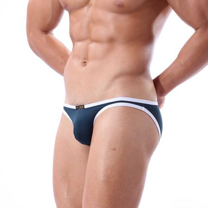 Nova moda masculina cueca briefs sexy bikini cintura baixa cuecas u convexo bolsa masculina