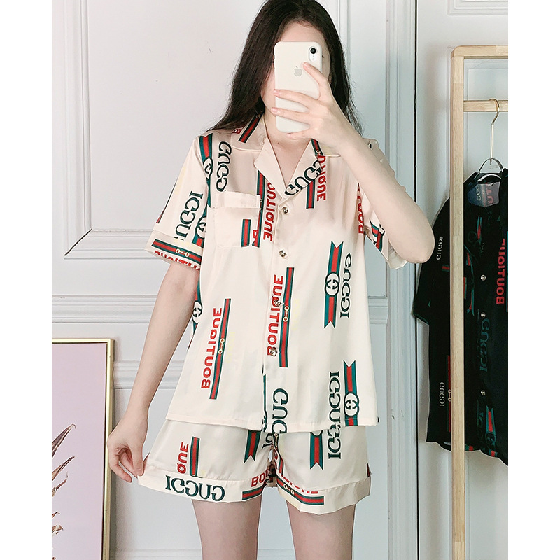 2020 Women's Pajamas Pajamas Female Summer Ins Big Silk Print Short-Sleeve Shorts Clothing Pyjamas Women Sleepwear Pijama Mujer