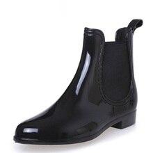 여성을위한 고무 부츠 PVC 발목 장화 방수 유행 젤리 여성 부팅 탄성 밴드 비오는 신발 여성 botas mujer
