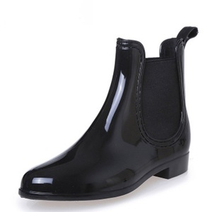 Image 1 - Rubber Boots for Women PVC Ankle Rain Boots Waterproof Trendy Jelly Women Boot Elastic Band Rainy Shoes Woman botas mujer
