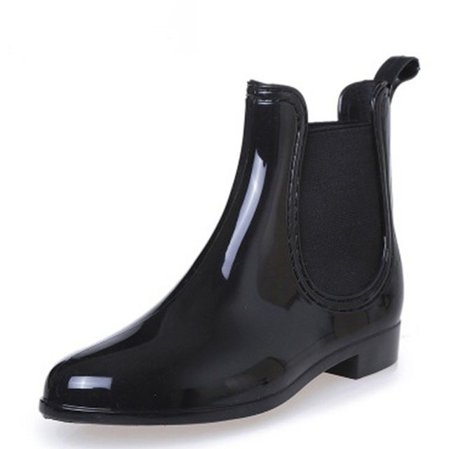 Rubber Boots for Women PVC Ankle Rain Boots Waterproof Trendy Jelly Women Boot Elastic Band Rainy Shoes Woman botas mujer