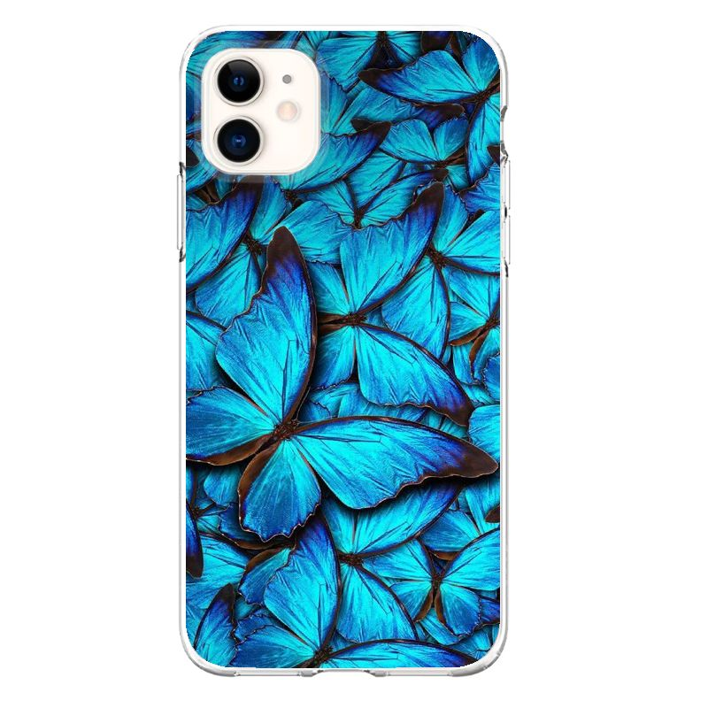 Blue butterfly case for iphone x xs max xr 11 pro 5 5s se 8 7 6 s plus ins cartoon clear soft fundas cover coque