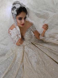 mariage robe de mariee 2020 long sleeves heavy beading wedding dress luxury