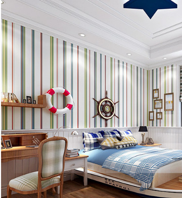 Environmentally Friendly Tasteless Simple England Stripes Non-woven Wallpaper Baby Children Boy Bedroom Wallpaper