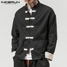 Elegant Shirt Stand-Collar Long-Sleeve Men Vintage Button-Up Streetwear INCERUN Chinese-Style