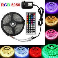Светодиодная лента светильник RGB 5050 SMD 2835 гибкая светодиодная лента световой светильник полоса RGB 5 м 10 м 15 М лента диод DC 12 В + пульт дистанцио...