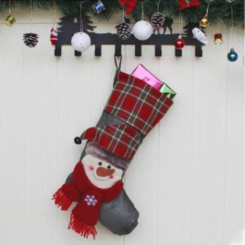Новый Рождественский носок Подарочная сумка Рождественская елка кулон старый человек снеговик лося подарок отель ветрина магазина украше... - 3