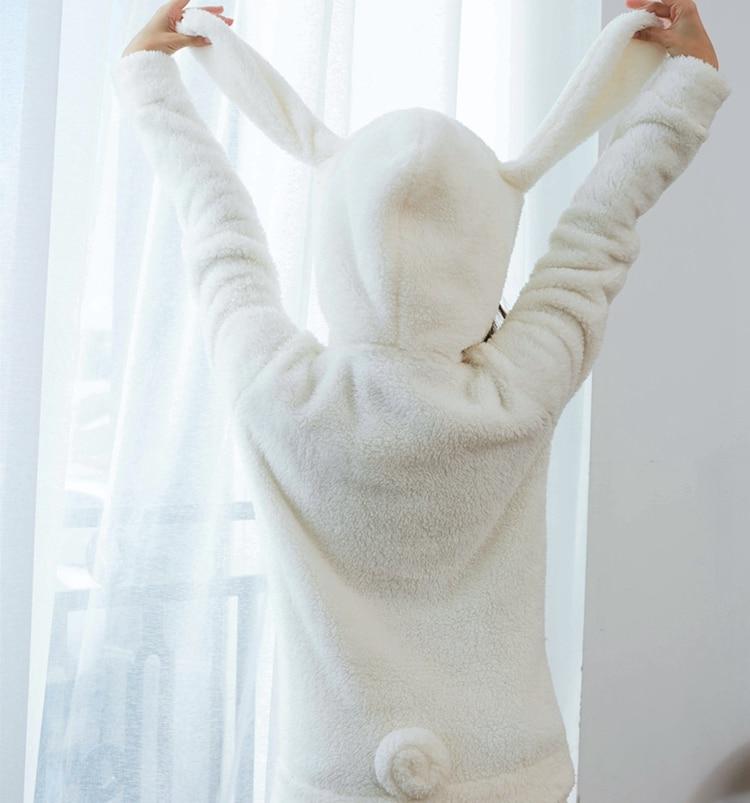 1set Cosplay Cinnamoroll Sweatshirt Two Piece Pajama Coral Fleece Thick Warm Winter Women Cartoon Kawaii White Hoodies Trousers 5