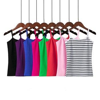 XS-3XL Spaghetti Strap Cami Women Fitness Cotton Tank Top Spring Summer Singlet Vest Stretch Undershirt Camisole Streetwear Tops brief embroidered spaghetti strap tank top for women