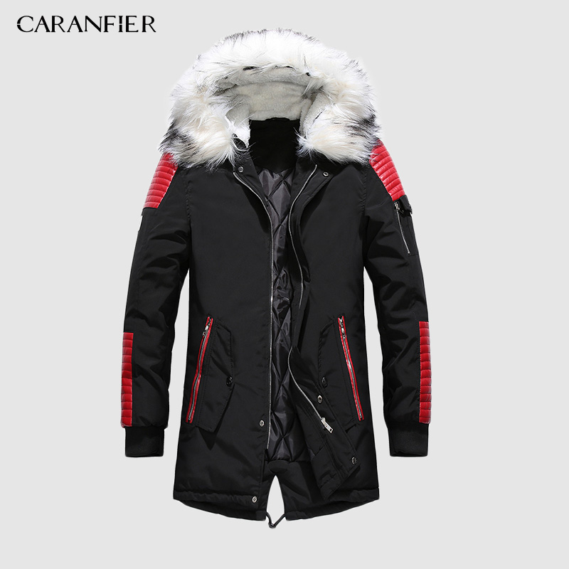 CARANFIER Brand New Winter Parkas Men Thicken Warm Parkas Casual Long Outwear Hooded Collar Jackets Coats Men Veste Wholesale