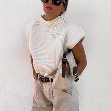 DEWADBOW – gilet tricoté à col roulé pour femme, hauts sans manches, élégant, style anglais, collection printemps 2021, décontracté