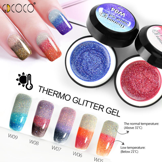 GDCOCO Temperature Change Glitter Color Gel Polish Cool Thermal Magic Effect Nail Varnish Gel Soak Off UV LED Gel Lacquer 4