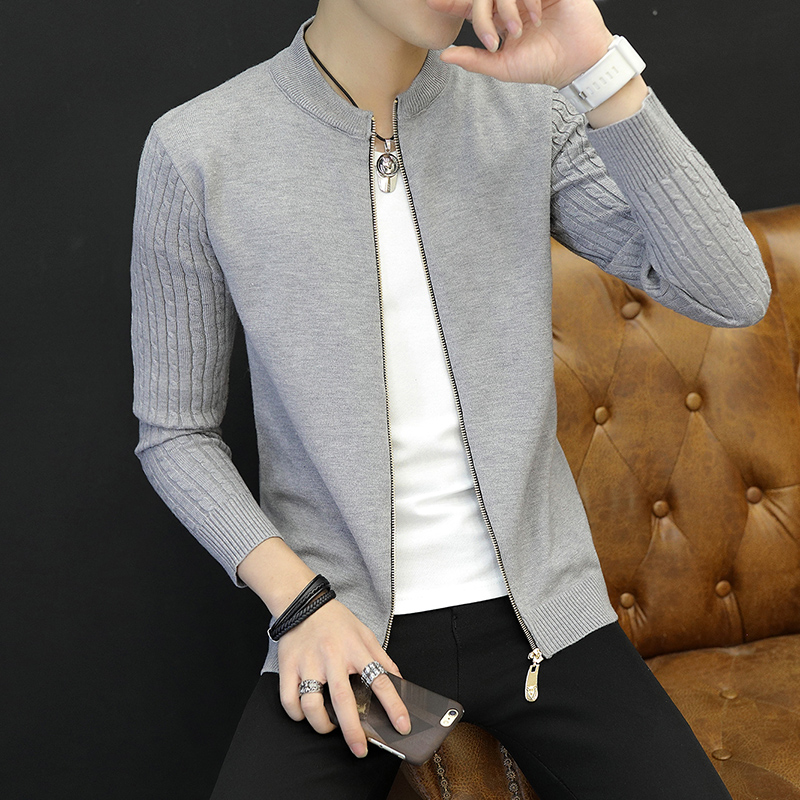 Explosions Hot Young Men's Sweaters Autumn And Winter Trend Slim Long Sleeve Arm Twist Sweater Solid Color Zipper Cardigan Coats