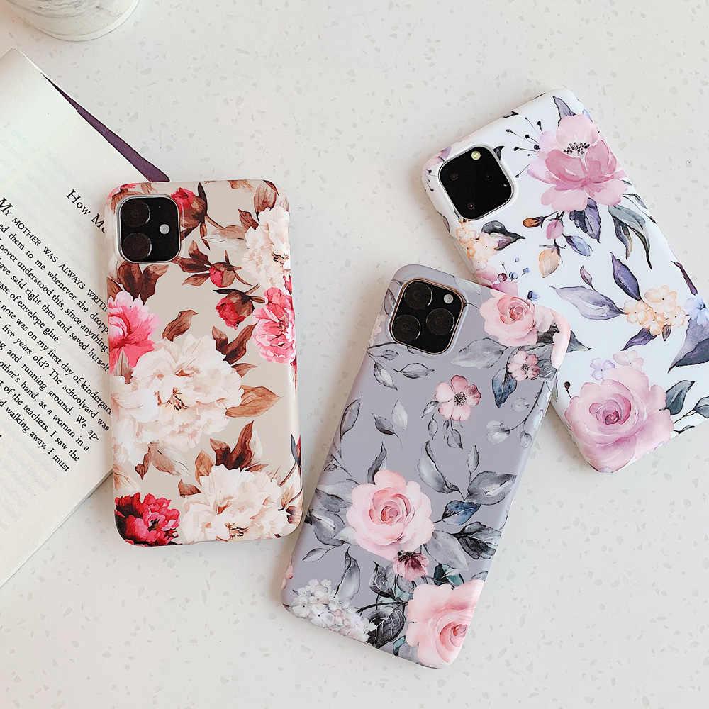 Manque Art fleurs feuille Coque de téléphone pour iphone 11 11Pro Max XS Max X XR 6 S 7 8 Plus couverture arrière mode IMD cas rétro Capa Coque